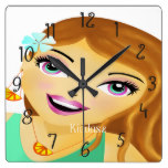 Unique fashion model illustration square wallclocks