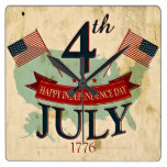 Vintage rustic Independence day 4th July trendy Square Wallclock
