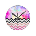 Watercolor nebula space pink ombre wood chevron round wall clock