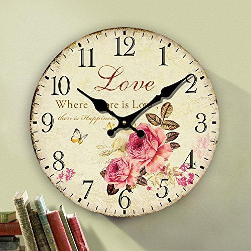 Romantic Roses Clock, 12″ Eruner Country Floral Wall Clock *Love* Wooden Art Decor Non-Ticking Home Decoration(C-62)