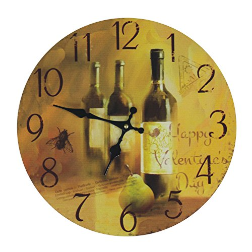 JustNile Rustic Country-Style Round Wall Clock – 13″ Wine