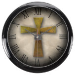 Beautiful Custom Christian Jesus Rustic Cross Aqua Clock