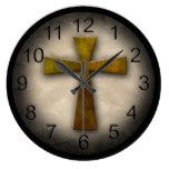 Beautiful Custom Christian Jesus Rustic Cross Wall Clocks
