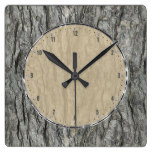 Gray Tones Rustic Wood Bark Square Wallclocks