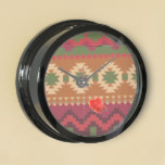 red southwest pattern –  western abstract art aquarium clock