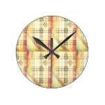 Technicolor Brown Hipster Plaid Round Clocks