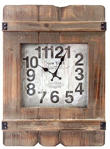 MCSAG Wood Heritage Clock with Distressed Wood Finish, 16 by 23-Inch