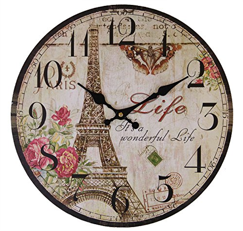 JustNile Rustic Country-Style Round Wall Clock – 13-inch Eiffel Tower