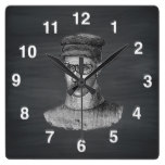 Black Chalkboard Steampunk Goggles Man Square Wall Clocks