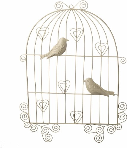 Metal Wall Hanging Bird Cage With Clips For Photos/ Memos – Cream