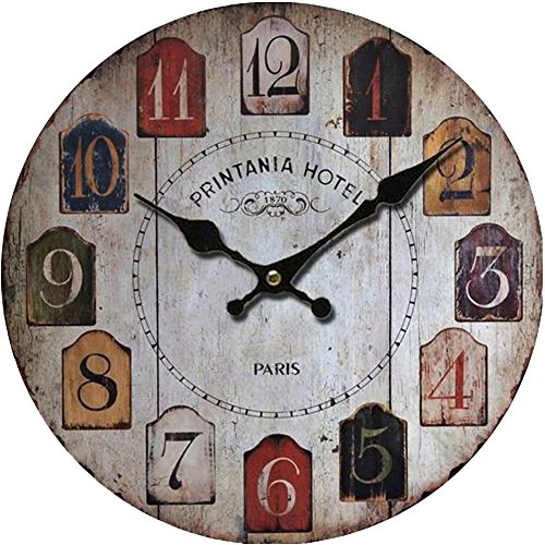 Grazing 5″ Vintage Rustic Country Tuscan Style Wooden Decorative Round Wall Clock (Colorful01)