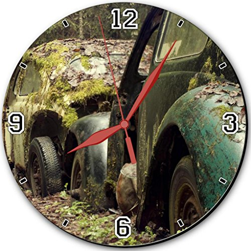 Old Vehicles Garbage Rustic Cars 10″ Quartz Plastic Wall Round Clock Classic Analog Setting Customized Inch Hand Needle Made to Order Support Ready Assembly Required Luxlady Dial Time Personalized Gift Battery Operated Accessories Graphic Designed Model HD Template Wallpaper Photo Image