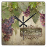 Personalized Rustic Vineyard Winery Fall Wine Sign Square Wall Clocks