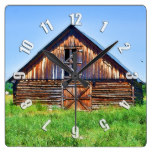 Rustic Barn on Cattle Ranch Art Square Wall Clock