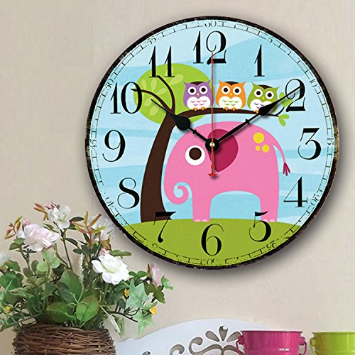 Cute Wall Clock, 12″ Eruner Modern Family Animated Cartoon Decoration 12-Inch Wood Clock Painted Elephant Owl Lovely Style Silent Quartz Movement #12888 for Nursery Kid's Room Decal(Elephant, M5)