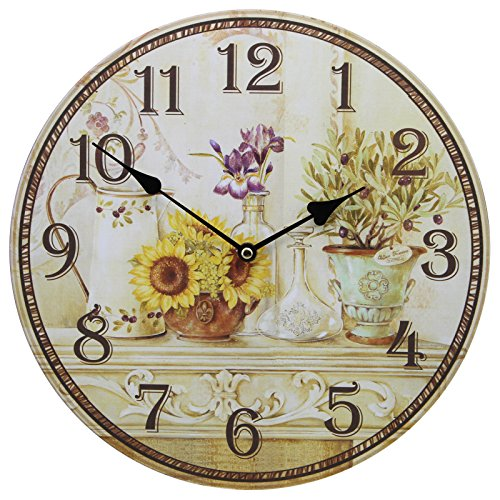 Shabby Chic Large 34cm Thin Rustic Wall Clock Sunflowers on Mantel