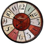Grazing 5-inch Vintage Rustic Country Tuscan Style No Glass Wooden Decorative Round Wall Clock ( Colorful02)