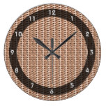 Basketweave Tan Diagonal Weave Clocks