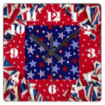 British, Novelty, Patchwork, Icons Square Wallclock
