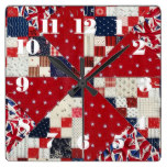 England, British, Icons, Patchwork Design Square Wall Clock