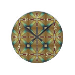 Red Ochre Teal Yellow Native Tribal Mosaic Pattern Round Wall Clock