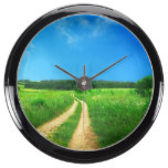 Rural Country Path Grass Summer Blue Sky meadow Fish Tank Clock