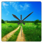 Rural Country Path Grass Summer Blue Sky meadow Square Wall Clocks