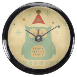 rustic owl,chrismas,pattern,trendy,cute,graphic,mo fish tank clock