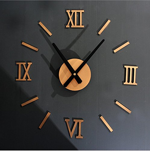 Sunnee 3D Fashion Creative Home Modern Artistic Metallic Roman Numeral Decoration DIY Wall Clock Surface Metalic with Stickers Home Decoration Suggested 15-25 Inch