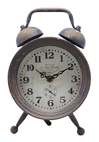 Vintage Round Metal Twin Bell Alarm Clock Style Table Clock,Rustic Blue