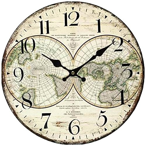 Grazing 5″ Fashion Earth Style Wooden Decorative Round Wall Clock (Earth)