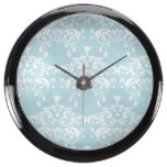 Blue Pastel Damask Pattern Fish Tank Clocks