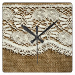 Burlap,white lace,vintage,victorian,rustic,trendy, square wall clocks