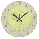 Cute Antique Inspired Rooster Good Morning Sun Wallclocks