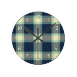 Dark Blue Mint Jade Green Classic Tartan Pattern Round Clock