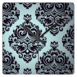 Gothic,damasks,teal,black,vintage,victorian,grunge Square Wall Clocks