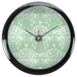 Mint Pastel Damask Pattern Fish Tank Clocks