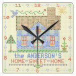 Personalized Home Sweet Home Cross Stitch House Square Wall Clock