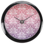 Pink & Purple Ombre Damask Pattern Fish Tank Clocks