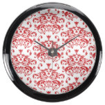 White & Red Diamonds Pattern Fish Tank Clocks