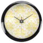 Yellow & White Damask Pattern Fish Tank Clock