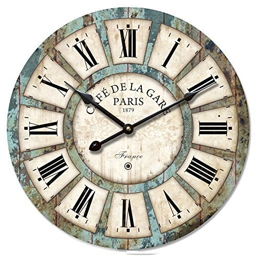 12″ Vintage Roman Numeral Design Wood Clock – Eruner France Paris *Café De La Gare* Colourful French Country Tuscan Style Non-Ticking Silent Wooden Wall Clock (#03, Non-Ticking)
