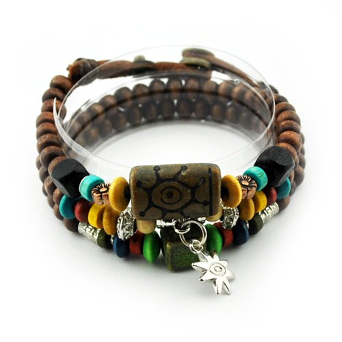 November's Chopin (TM) Fashion Art Metal Sunflower Pendant Adjustable Buttons Wood Beaded Wrap Bracelet