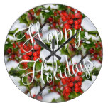 Christmas Holiday Holly Leaves Red Berries Pattern Wallclock