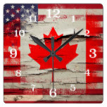 Crackle Paint | Canadian American Flag Square Wallclocks