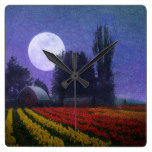Evening Rustic Farm Landscape Tulip Flower Fields Square Wall Clocks