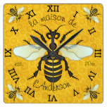 French Bee Honeycomb Family Name Elegant Honeybee Square Wallclock