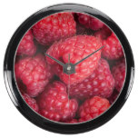 Fresh red raspberries aquarium clocks