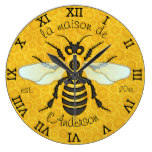 Honeybee Honeycomb French Bee Family Name Elegant Wallclock