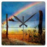 Pastoral Rainbow Rustic Landscape Wire Fence Square Wallclocks